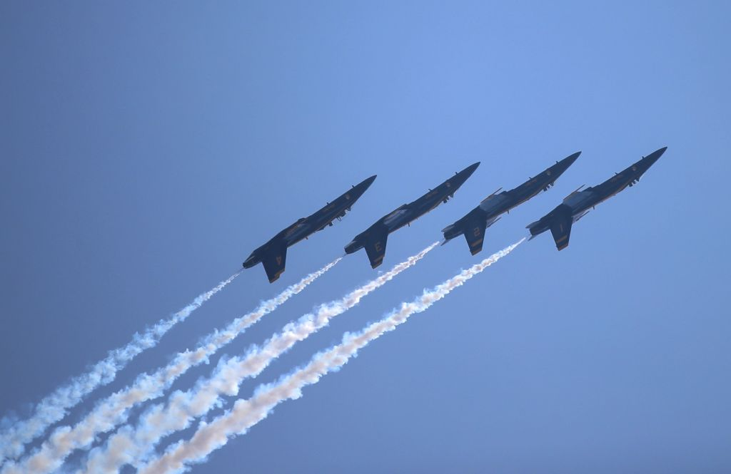 NEW YORK, May 26, 2018 - Aircraft of United States Navy Blue Angels perform during the 15th annual Bethpage Air Show over Jones Beach in New York, the United States, May 26, 2018.