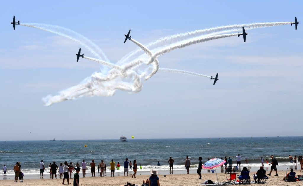 NEW YORK, May 27, 2018 - GEICO Skytypers team performs during the 15th annual Bethpage Air Show over the Jones Beach in New York, the United States, on May 26, 2018.