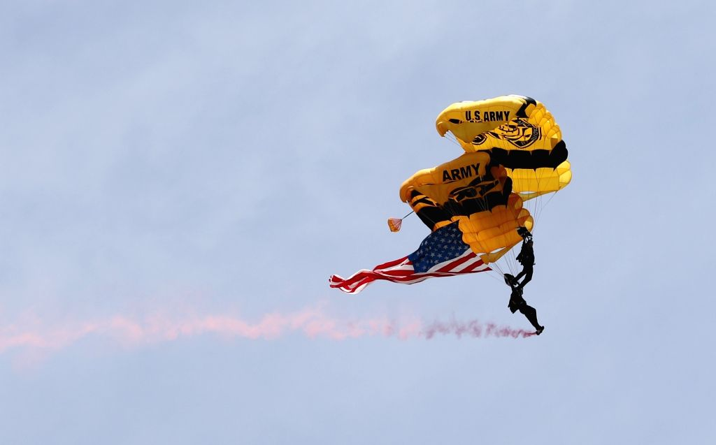 NEW YORK, May 29, 2017 - U.S. Army Golden Knights Parachute Team performs during the 14th annual Bethpage Air Show over Johns Beach in New York, the United States, May 28, 2017.