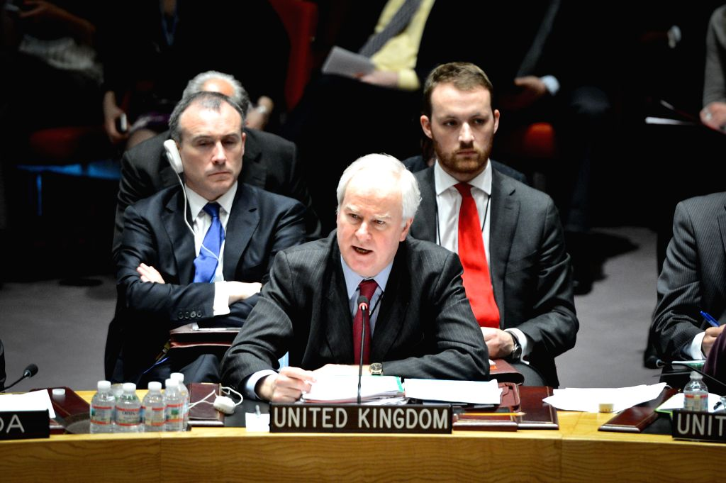 British Permanent Representative to the United Nations Mark Lyall Grant (C) speaks during a Security Council urgent session on the situation of Ukraine, at the UN ..