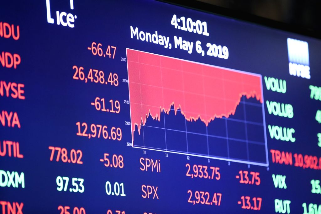 NEW YORK, May 6, 2019 - An electronic screen shows the trading information at the New York Stock Exchange in New York, the United States, on May 6, 2019. U.S. stocks ended lower on Monday, with the ...