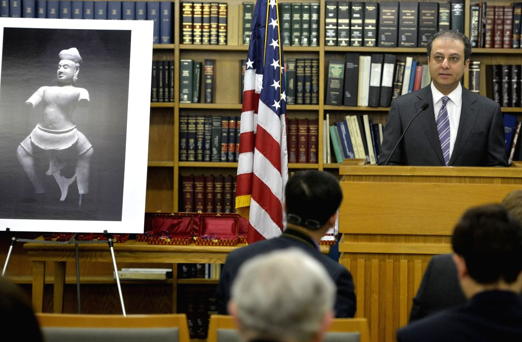 Preet Bharara, the U.S. Attorney for the southern District of New York, speaks at a handover ceremony of the ancient statue of Duryodhana in New York, the United ...