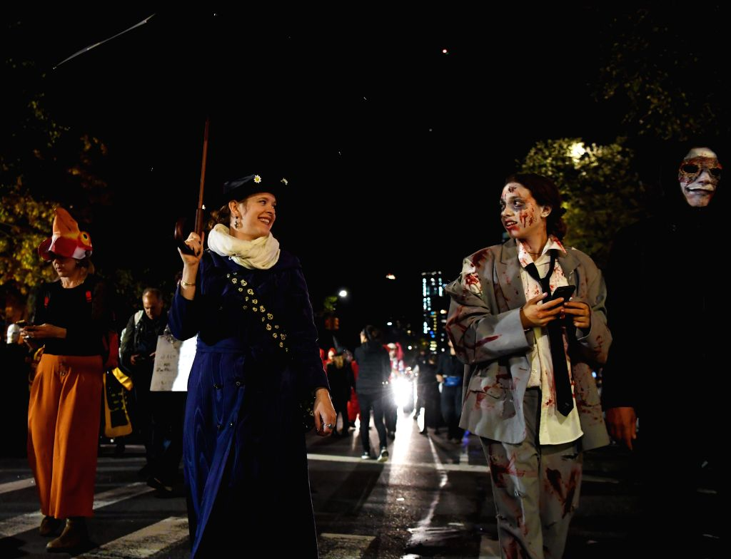 NEW YORK, Nov. 1, 2018 - People participate in the annual Halloween parade in Manhattan, New York, the United States, on Oct. 31, 2018.