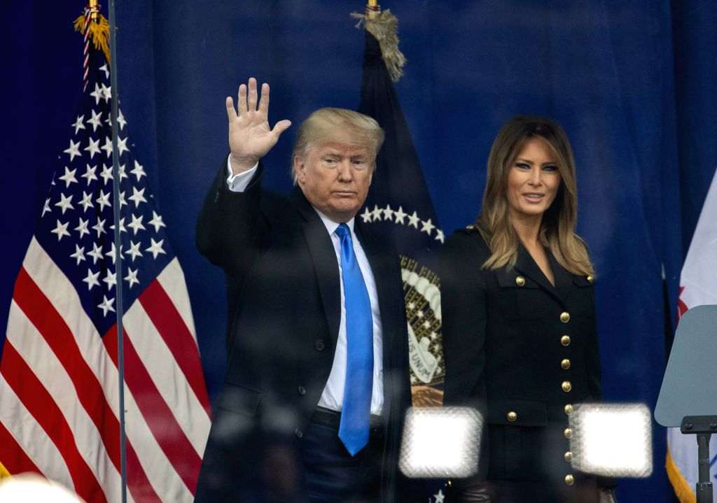 NEW YORK, Nov. 11, 2019 - U.S. President Donald Trump waves to the crowd during the opening ceremony of the Veterans Day Parade at the Madison Square Park in New York, the United States, on Nov. 11, ...