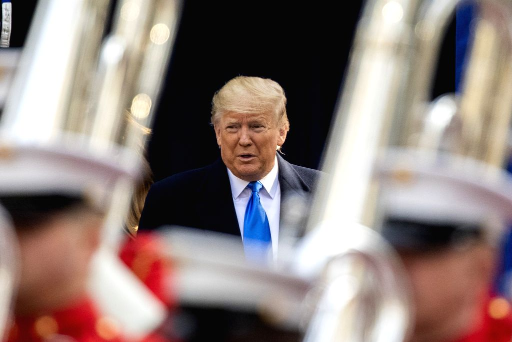 NEW YORK, Nov. 11, 2019 (Xinhua) -- U.S. President Donald Trump arrives for the opening ceremony of the Veterans Day Parade at the Madison Square Park in New York, the United States, on Nov. 11, 2019. U.S. President Donald Trump paid tribute to Ameri