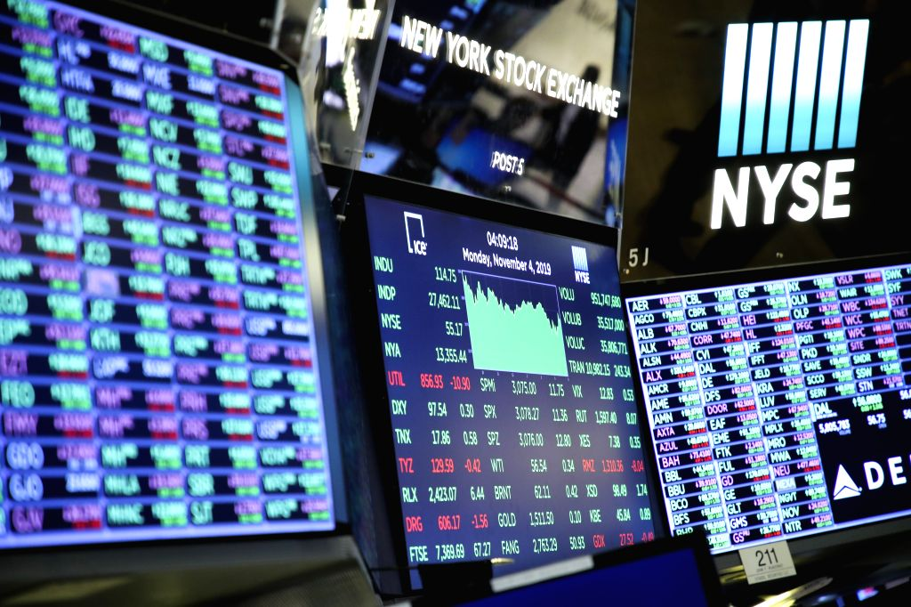NEW YORK, Nov. 4, 2019 (Xinhua) -- Electronic screens show the closing numbers at the New York Stock Market in New York, the United States, Nov. 4, 2019. U.S. stocks ended higher on Monday.  The Dow Jones Industrial Average rose 114.75 points, or 0.4
