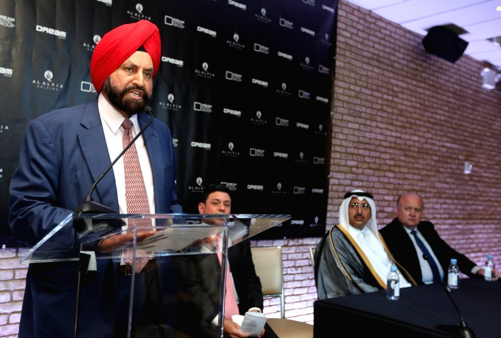 New York: NRI businessman Sant Singh Chatwal addresses during a programme organised to ink  a deal worth 300 million regarding development of a hotel in Doha; in New York. (Photo: Mohammed - Sant Singh Chatwal