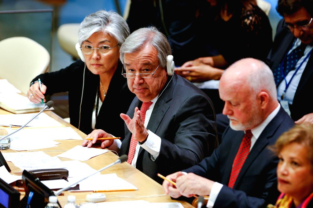 NEW YORK, Oct. 20, 2016 - United Nations Secretary-General designate Antonio Guterres (C) speaks during an UN General Assembly Informal meeting with the member states, at the UN headquarters in New ...