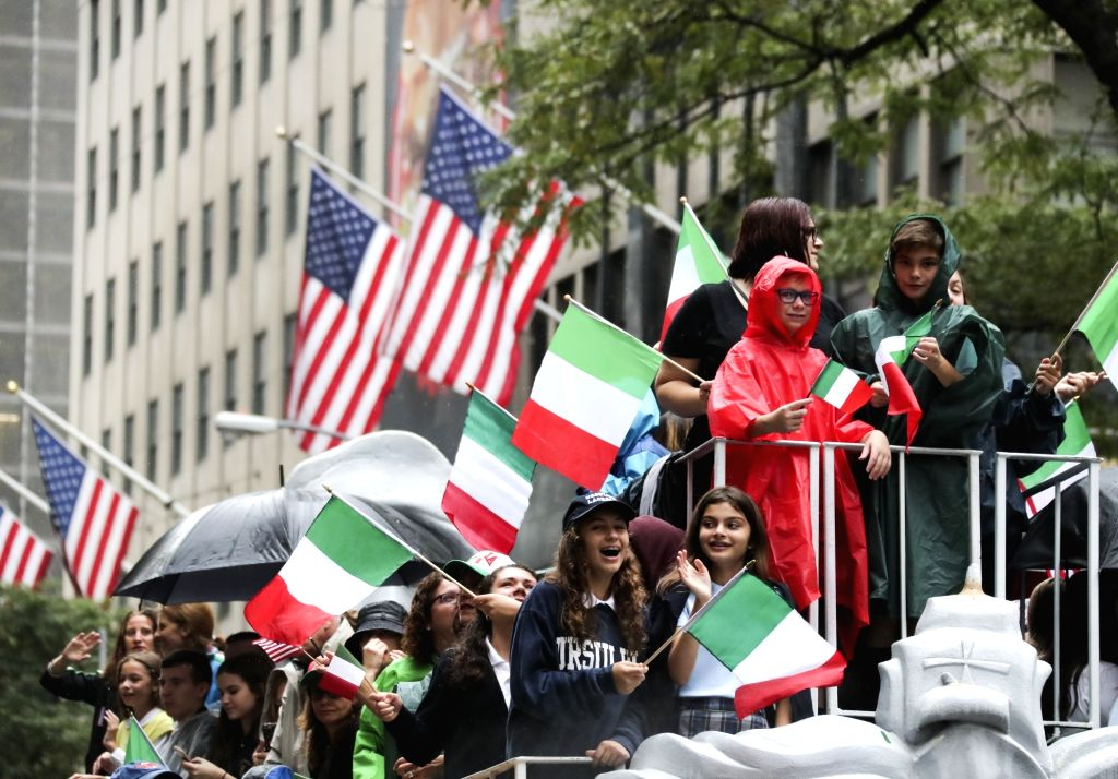 NEW YORK, Oct. 9, 2017 - People attend Columbus Day parade on Manhattan's Fifth Avenue in New York, the United States, on Oct. 9, 2017. Thousands of people participated in the celebration of the ...