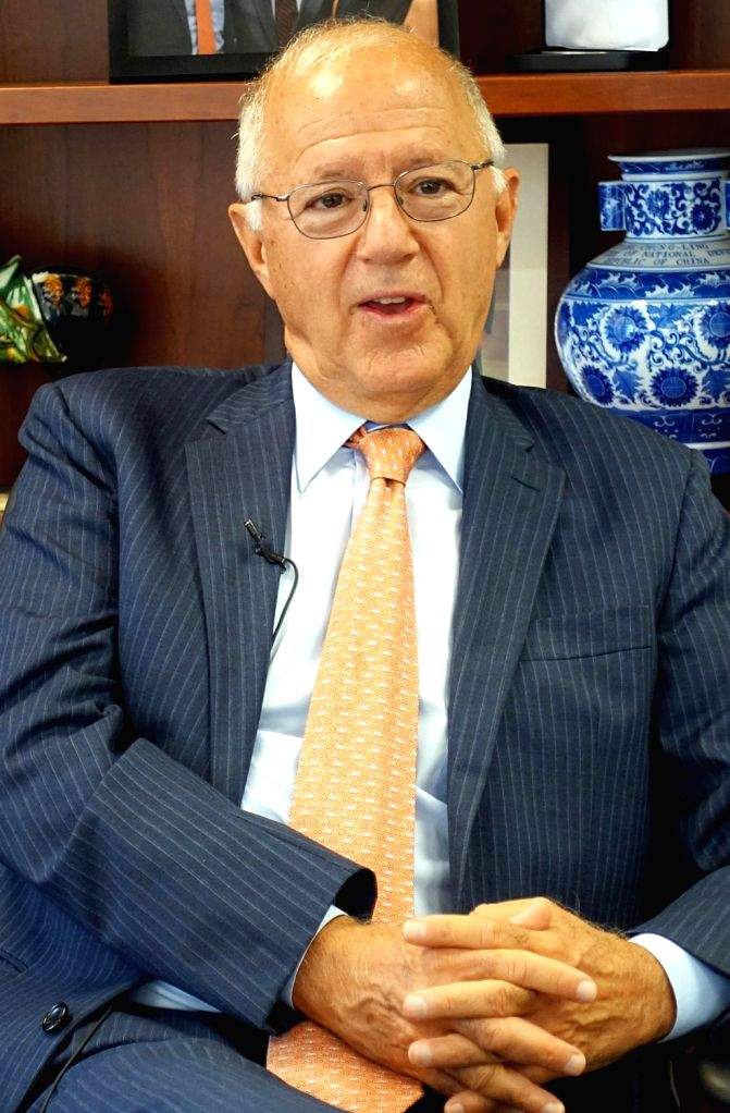 NEW YORK, Oct. 9, 2017 - Stephen A. Orlins, president of the National Committee on U.S.-China Relations, speaks in an interview with Xinhua reporters in New York, the United States, Sept. 28, 2017. ...