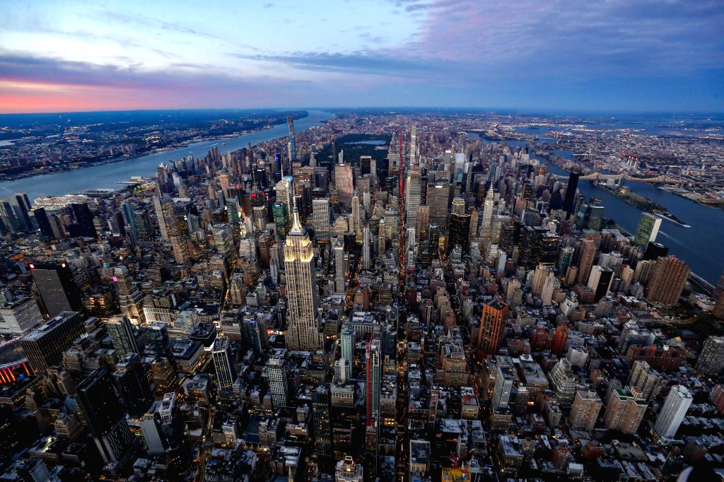 NEW YORK, Oct. 9, 2019 - Photo taken on Oct. 8, 2019 shows an aerial view of Manhattan in New York City, the United States.