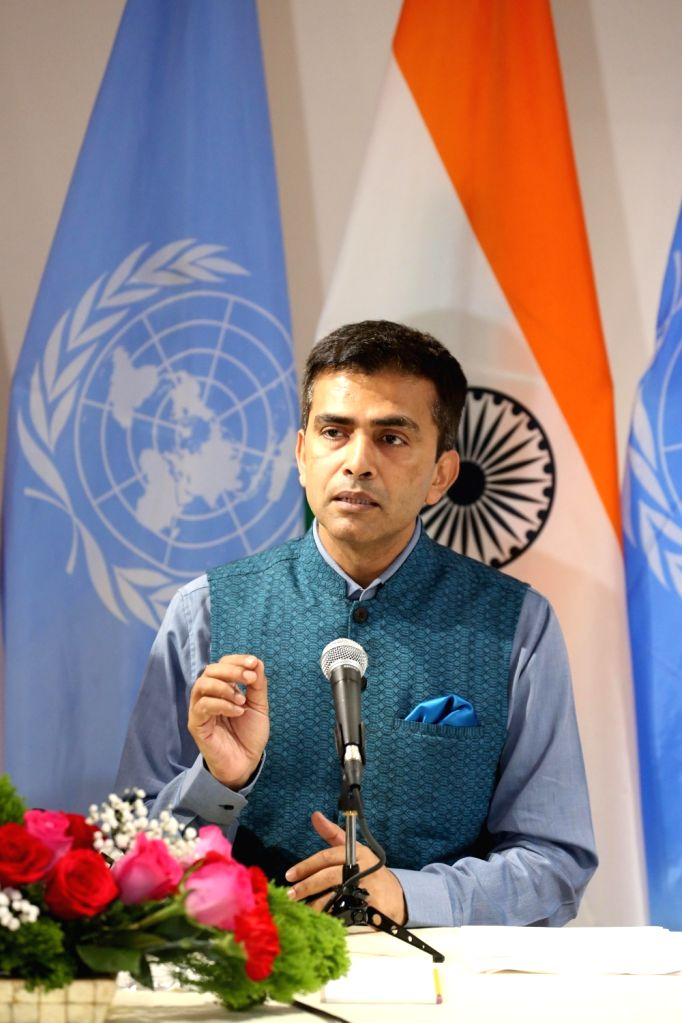 New York: Official Spokesperson of Ministry of External Affairs Raveesh Kumar addresses during 72nd Session of the United Nations General Assembly (UNGA) in New York on Sept 17, 2017. - Affairs Raveesh Kumar