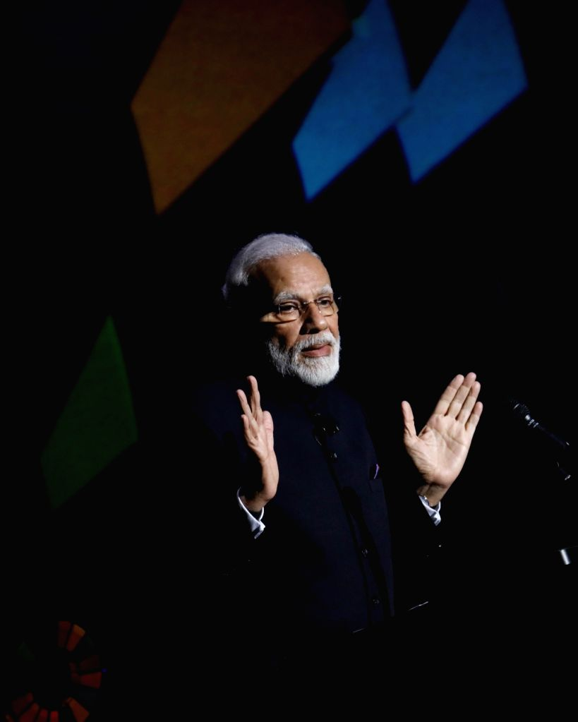 New York: Prime Minister Narendra Modi addresses after receiving the Global Goalkeeper Award presented to him by the Bill and Melinda Gates Foundation for the Swachh Bharat mission, in New York on ... - Narendra Modi