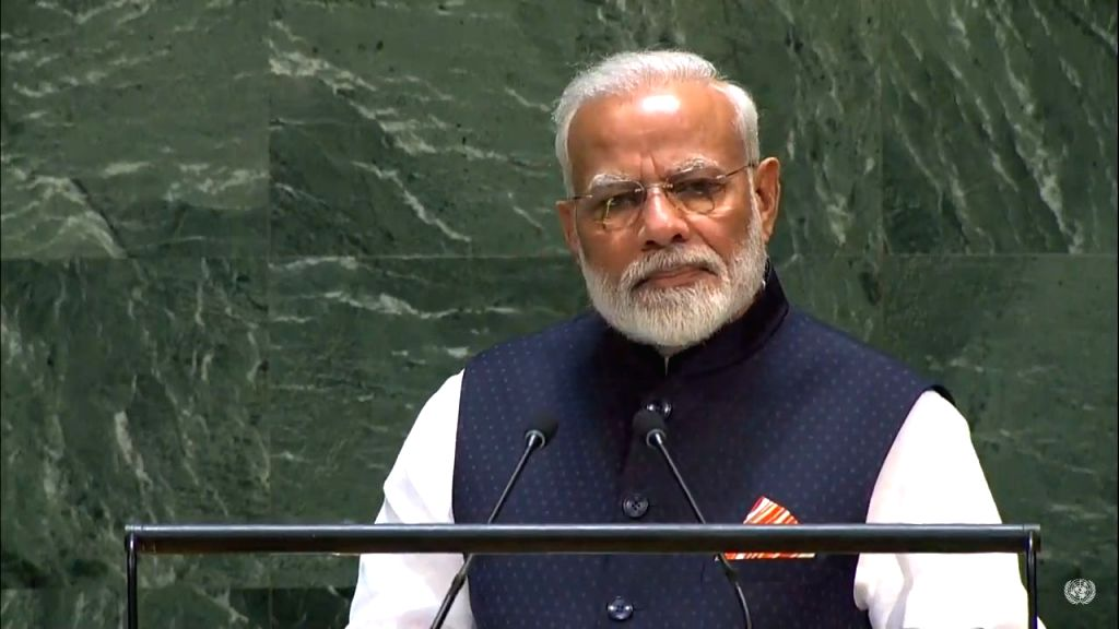 New York: Prime Minister Narendra Modi addresses at the 74th United Nations General Assembly (UNGA), in New York on Sep 27, 2019. - Narendra Modi