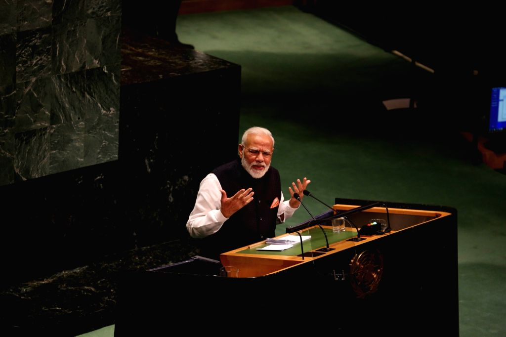 New York: Prime Minister Narendra Modi addresses at the 74th session of the United Nations General Assembly (UNGA), in New York on Sep 27, 2019. - Narendra Modi
