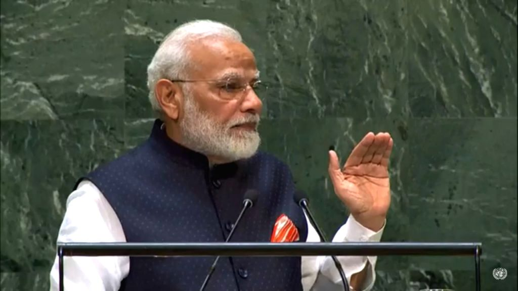 New York: Prime Minister Narendra Modi addresses at the 74th United Nations General Assembly (UNGA), in New York on Sep 27, 2019. (Photo: IANS) - Narendra Modi