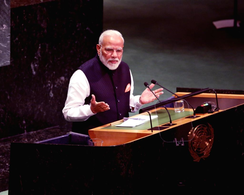 New York: Prime Minister Narendra Modi addresses at the 74th United Nations General Assembly (UNGA), in New York on Sep 27, 2019. (Photo: Mohammed Jaffer/IANS) - Narendra Modi