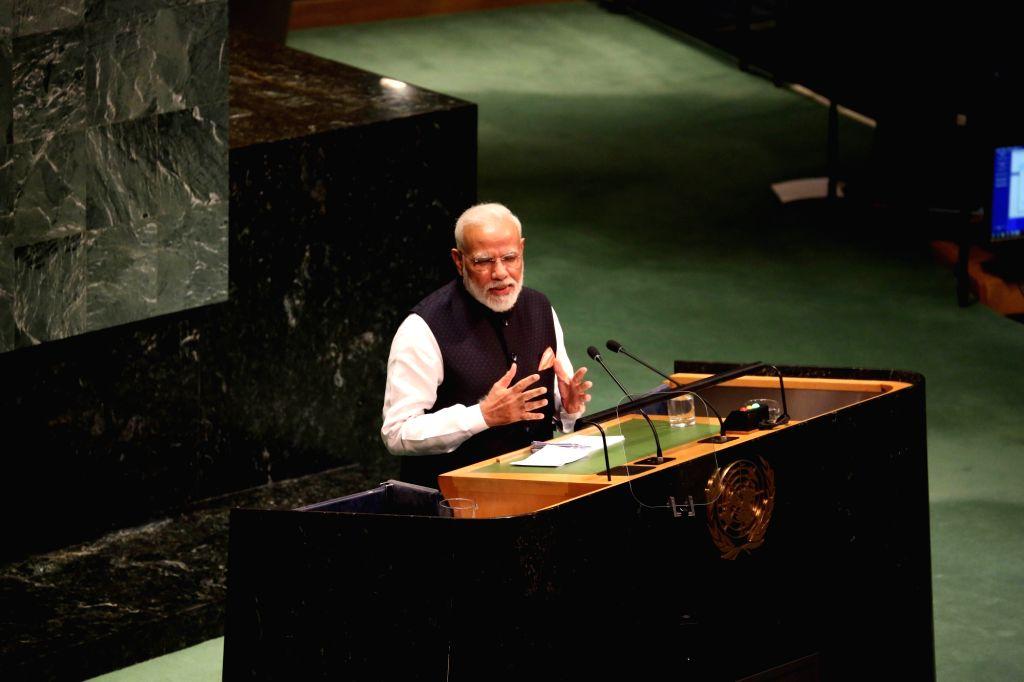 New York: Prime Minister Narendra Modi addresses at the 74th United Nations General Assembly (UNGA), in New York on Sep 27, 2019. (Photo: Mohammed Jaffer/IANS) - Narendra Modi