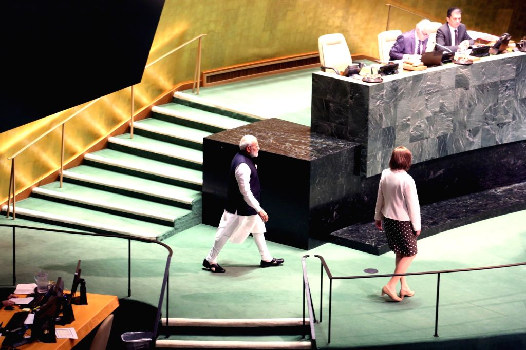 New York: Prime Minister Narendra Modi at the 74th United Nations General Assembly (UNGA), in New York on Sep 27, 2019. - Narendra Modi
