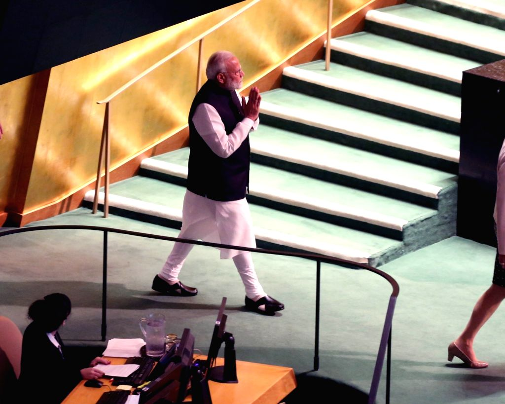 New York: Prime Minister Narendra Modi at the 74th United Nations General Assembly (UNGA), in New York on Sep 27, 2019. (Photo: Mohammed Jaffer/IANS) - Narendra Modi