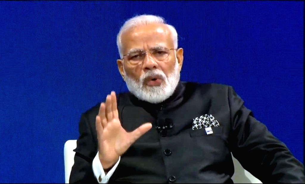 New York: Prime Minister Narendra Modi during the the third annual Bloomberg Global Business Forum (GBF) at The Plaza Hotel in New York on Sep 25, 2019. (Photo: IANS) - Narendra Modi