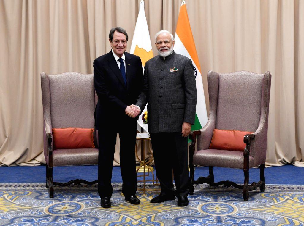 New York: Prime Minister Narendra Modi meets President of Cyprus Nicos Anastasiades in New York on Sep 27, 2019. - Narendra Modi