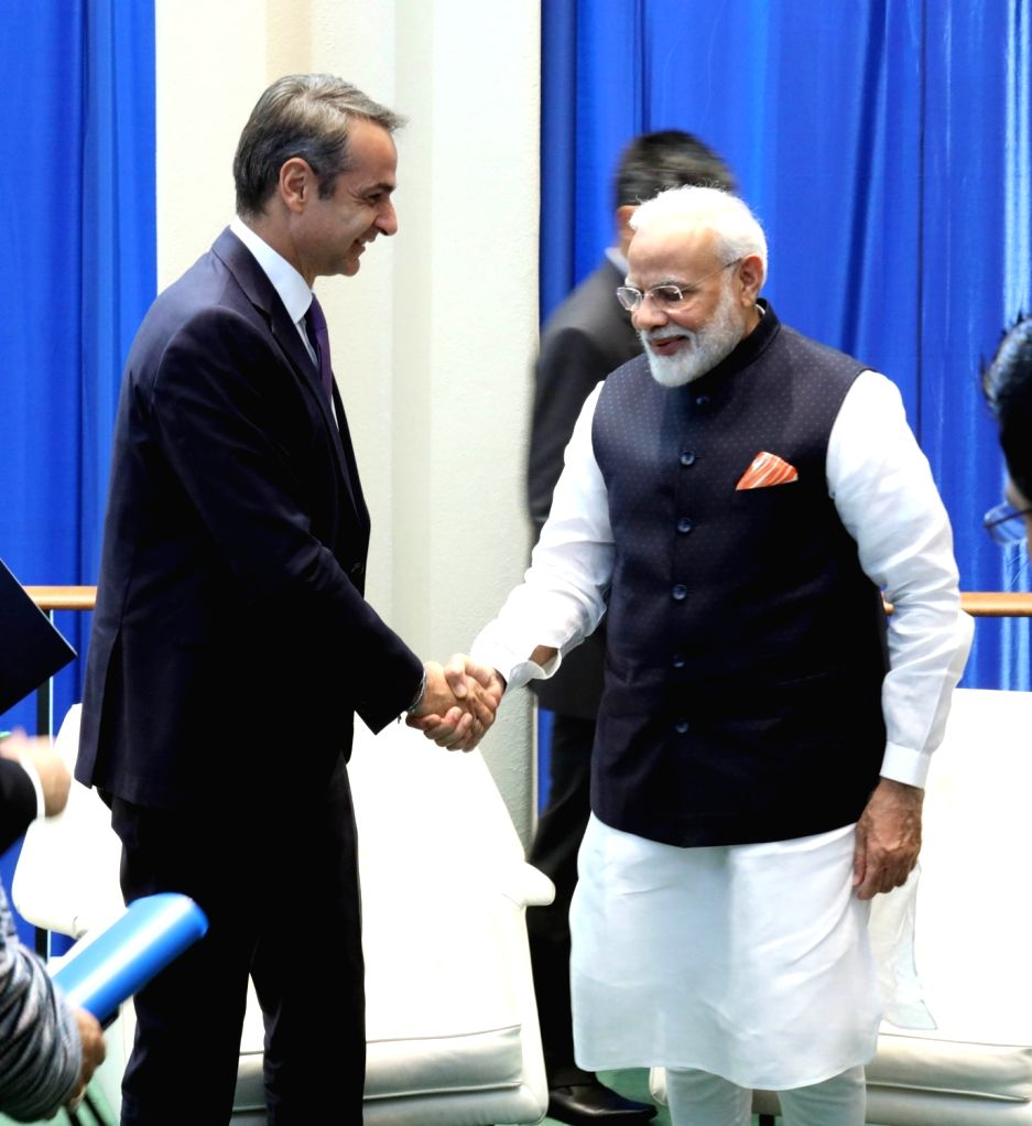 New York: Prime Minister Narendra Modi meets his Greek counterpart Kyriakos Mitsotakis, in New York on Sep 27, 2019. - Narendra Modi