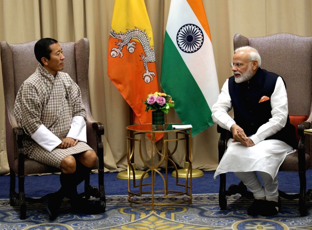 New York: Prime Minister Narendra Modi meets his Bhutan counterpart Lotay Tshering, in New York on Sep 27, 2019. - Narendra Modi