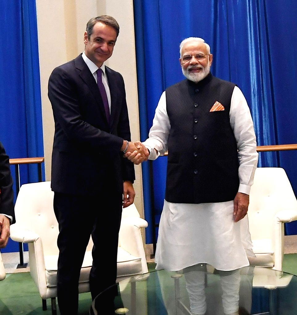 New York: Prime Minister Narendra Modi meets the Greece Prime Minister Kyriakos Mitsotakis, in New York, USA on Sep 27, 2019. - Narendra Modi