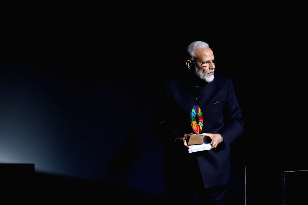 New York: Prime Minister Narendra Modi was conferred the Global Goalkeeper Award by the Bill and Melinda Gates Foundation for the Swachh Bharat mission, in New York on Sep 24, 2019. - Narendra Modi