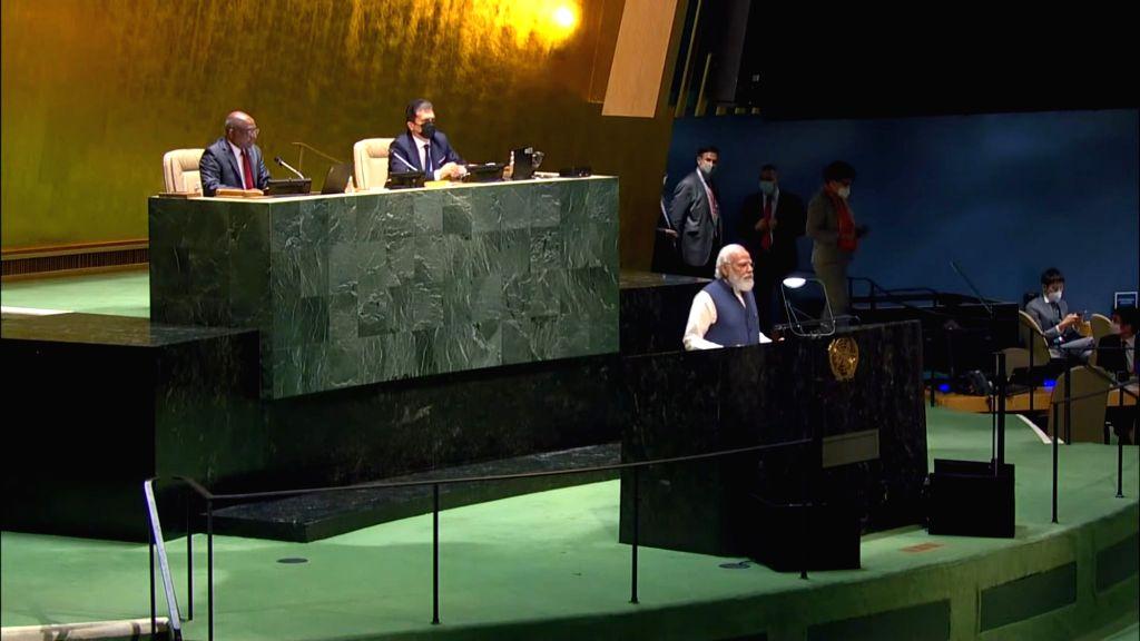 New York: Prime Minister of India Narendra Modi addressing the United Nations in New York on Saturday, September 25, 2021. - Narendra Modi