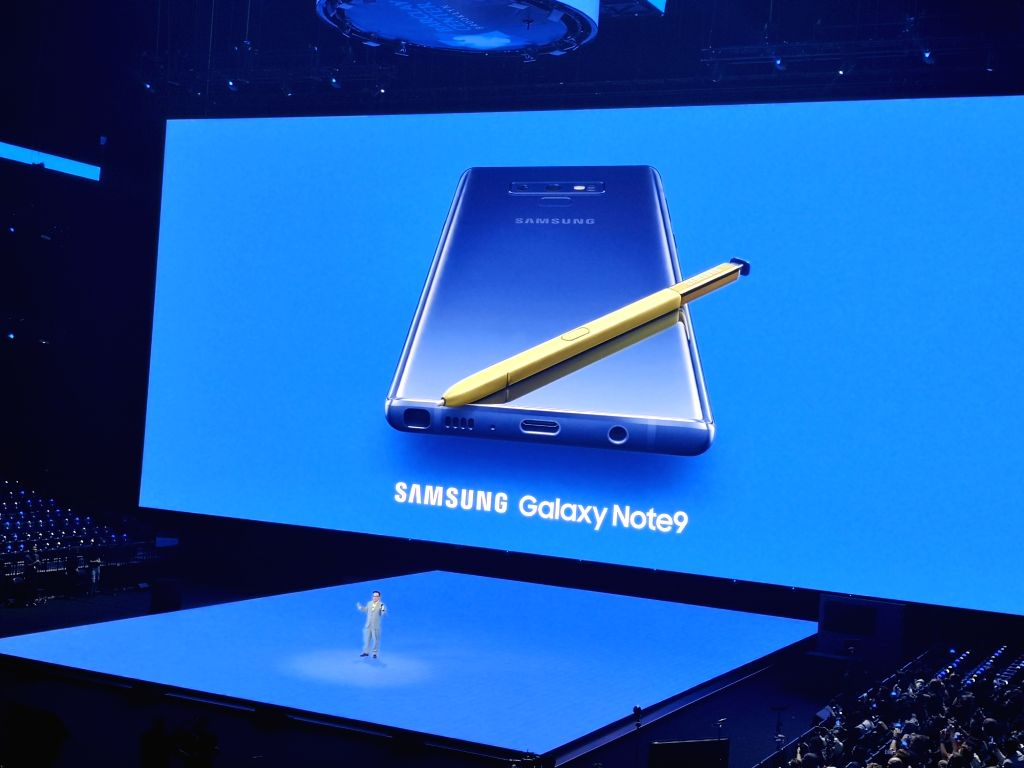 New York: Samsung launches Galaxy Note 9 at Brooklyn Barclays Centre in New York City on Aug 9, 2018.