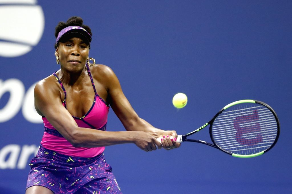 NEW YORK, Sept. 1, 2018 (Xinhua) -- Venus Williams of United States returns a hit during the women's singles third round match against Serena Williams at the 2018 US Open in New York, the United States, Aug. 31, 2018. Serena Williams won 2-0. (Xinhua