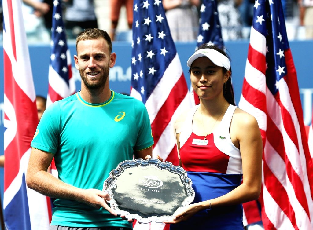 NEW YORK, Sept. 10, 2017 - Hao-Ching Chan (R) of Chinese Taipei and Michael Venus of New Zealand attend the awarding ceremony after their mixed doubles final match against Martina Hingis of ... - Martina Hingis