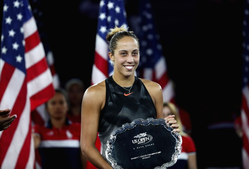 NEW YORK, Sept. 10, 2017 - Madison Keys of the United States poses with her runners-up trophy for a photo during the awarding ceremony after losing the women's singles final match against her ...