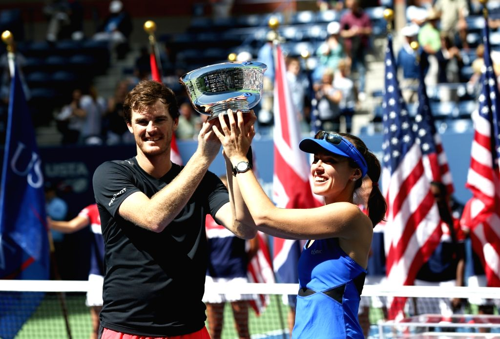 NEW YORK, Sept. 10, 2017 - Martina Hingis (R) of Switzerland and Jamie Murray of Great Britain attend the awarding ceremony after their mixed doubles final match against Hao-Ching Chan of Chinese ... - Martina Hingis