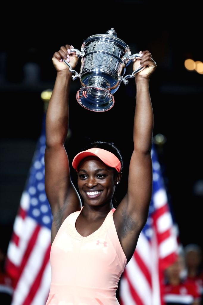 NEW YORK, Sept. 10, 2017 - Sloane Stephens of the United States holds the trophy during the awarding ceremony after winning the women's singles final match against Madison Keys of the United States ...