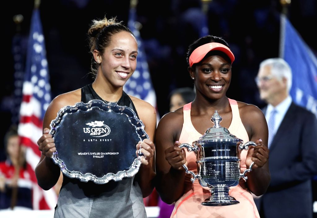 NEW YORK, Sept. 10, 2017 - Sloane Stephens (R) and Madison Keys of the United States pose for a photo during awarding ceremony after their women's singles final match at the 2017 US Open in New York, ...