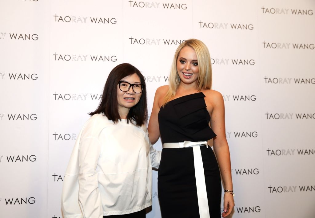 NEW YORK, Sept. 10, 2017 - Tiffany Trump (R), the younger of U.S. President Donald Trump's two daughters, and Chinese designer Wang Tao pose for photos at the backstage before the fashion show of ...