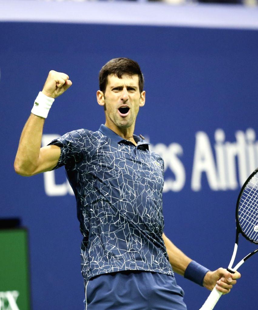 NEW YORK, Sept. 10, 2018 - Novak Djokovic of Serbia celebrates scoring during the men's singles final match against Juan Martin del Potro of Argentina at the 2018 US Open tennis tournament in New ...