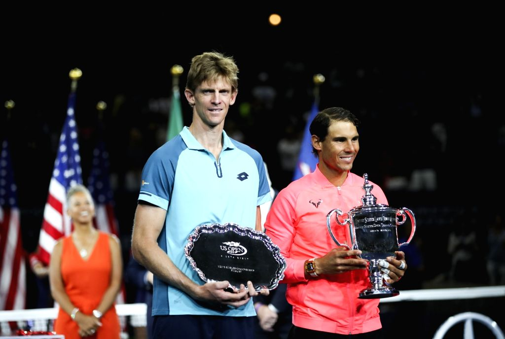 NEW YORK, Sept. 11, 2017 - Rafael Nadal (R) of Spain and Kevin Anderson of South Africa pose with their trophies during the awarding ceremony after their Men's singles final match at the 2017 US Open ...