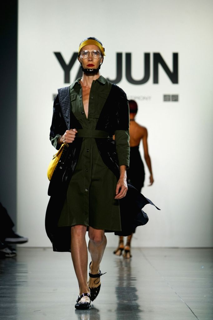NEW YORK, Sept. 11, 2018 - A model presents a creation of Yajun Spring/Summer 2019 collection during the New York Fashion Week in New York, the United States, Sept. 10, 2018.