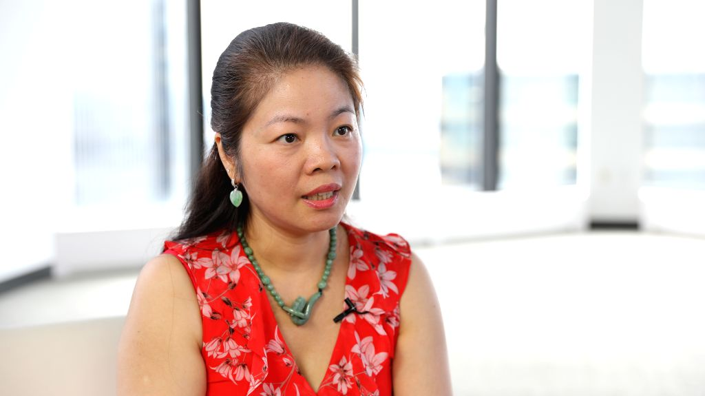 NEW YORK, Sept. 11, 2019 - Jennifer Chan, a selling agent at real estate services company E Realty International Corp., is interviewed by Xinhua in New York, the United States, on Sept. 5, 2019. ...