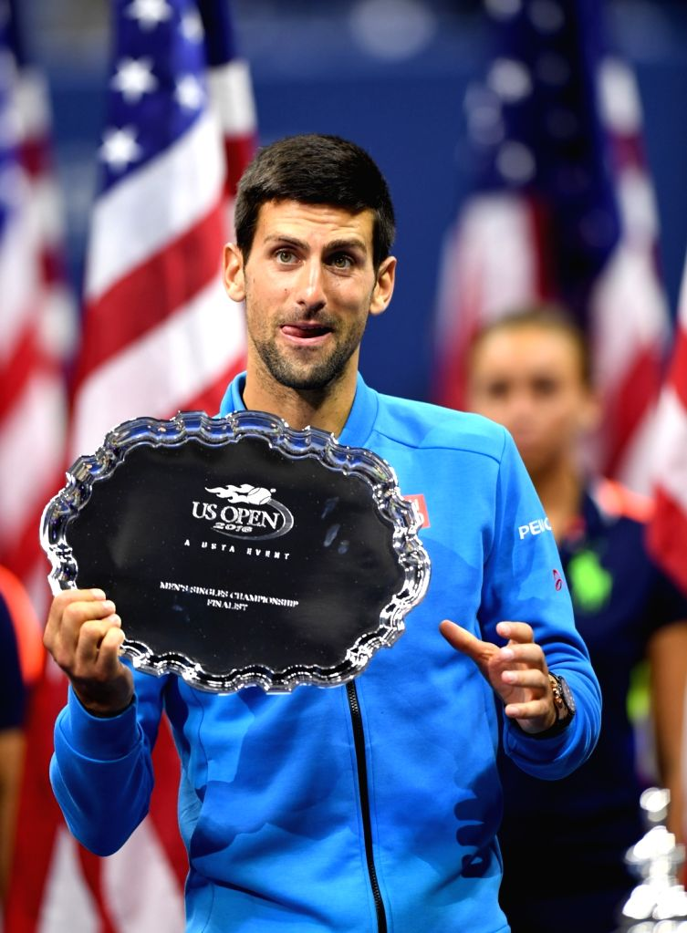 NEW YORK, Sept. 12, 2016 - Novak Djokovic of Serbia reacts during the awarding ceremony after the men's singles final match against Stan Wawrinka of Switzerland at the 2016 U.S. Open in New York, the ...