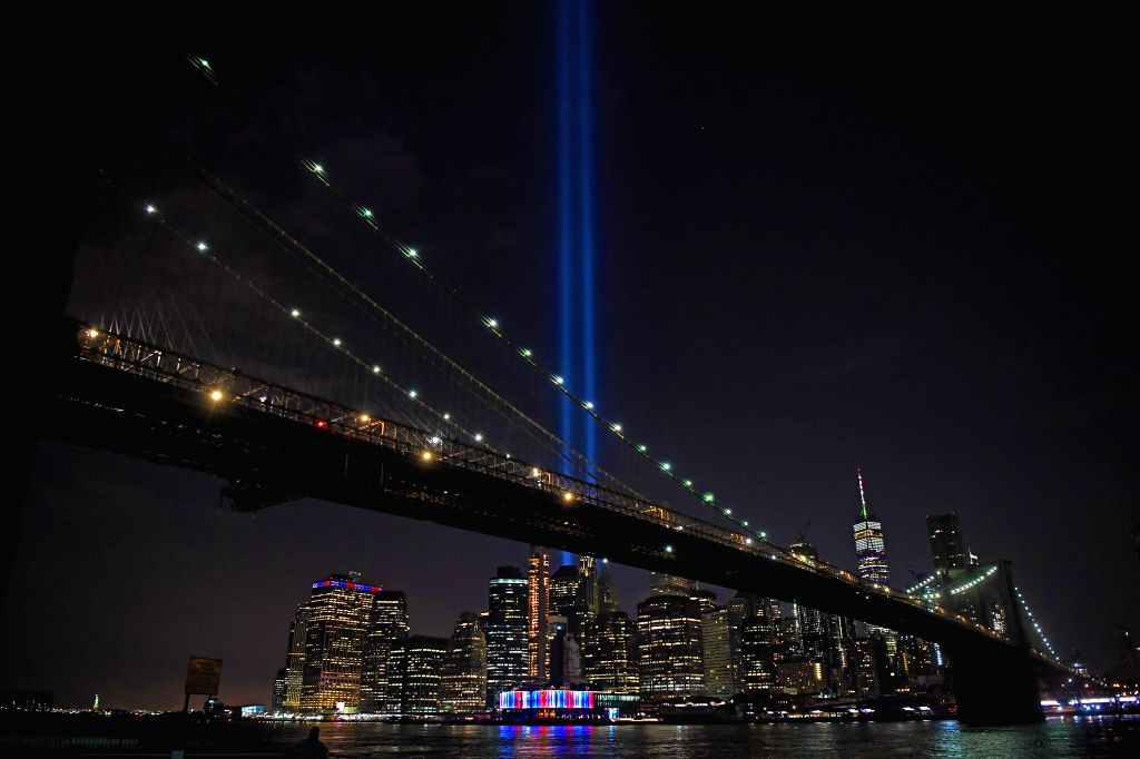 NEW YORK, Sept. 12, 2019 - The Tribute in Light, an art installation of searchlights to create two vertical columns of light to represent the Twin Towers, is seen in New York, the United States, ...