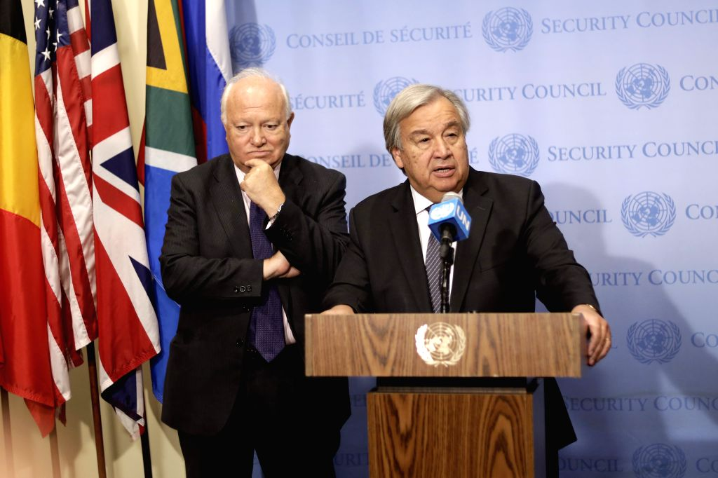 NEW YORK, Sept. 13, 2019 - UN Secretary-General Antonio Guterres (R) speaks to journalists on launching a plan of action to safeguard religious sites, at the UN headquarters in New York, Sept. 12, ...