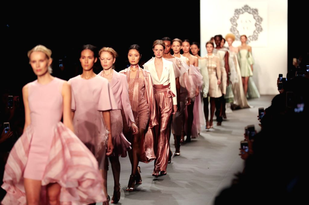NEW YORK, Sept. 14, 2016 - Models present creations of LANYU Spring/Summer 2017 collection during the New York Fashion Week in New York, the United States, Sept. 13, 2016.