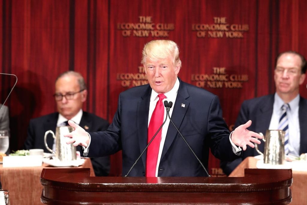 NEW YORK, Sept. 15, 2016 - U.S. Republican presidential nominee Donald Trump delivers a speech during a luncheon meeting of the Economic Club of New York in New York, the United States, Sept. 15, ...
