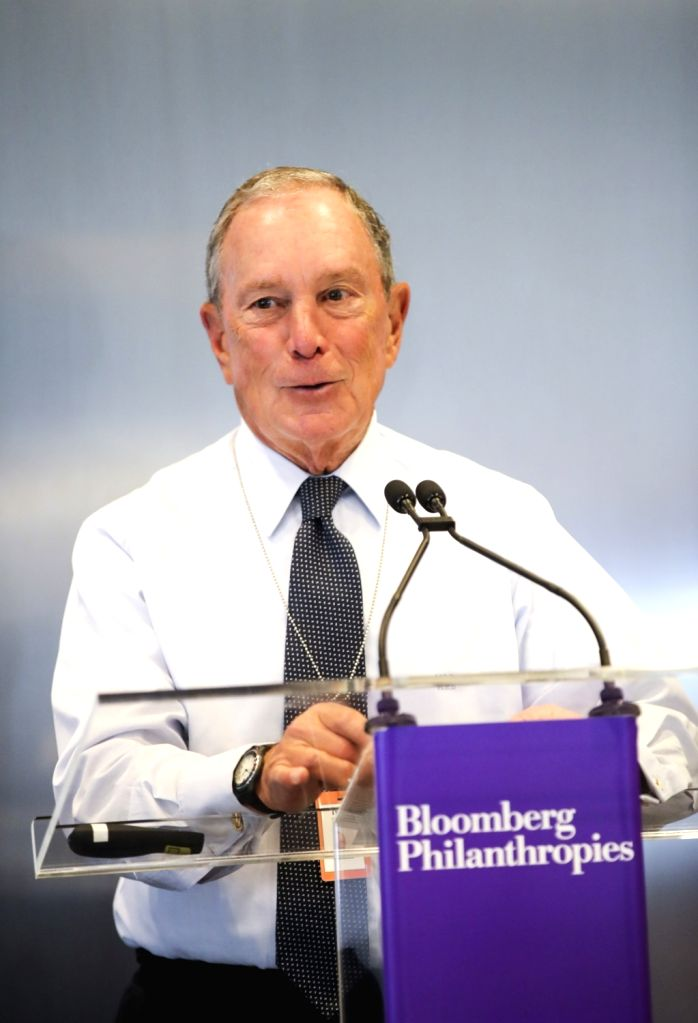 NEW YORK, Sept. 17, 2018 - Michael Bloomberg speaks during a press briefing on Bloomberg Global Business Forum 2018 in New York, the United States, Sept. 17, 2018. The Bloomberg Global Business Forum ...