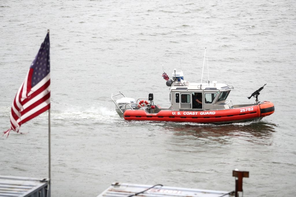 NEW YORK, Sept. 19, 2016 - A U.S. coast guard vessel patrols near the United Nations headquarters in New York, the United States, Sept. 19, 2016. Security has been enforced in New York as a series of ...